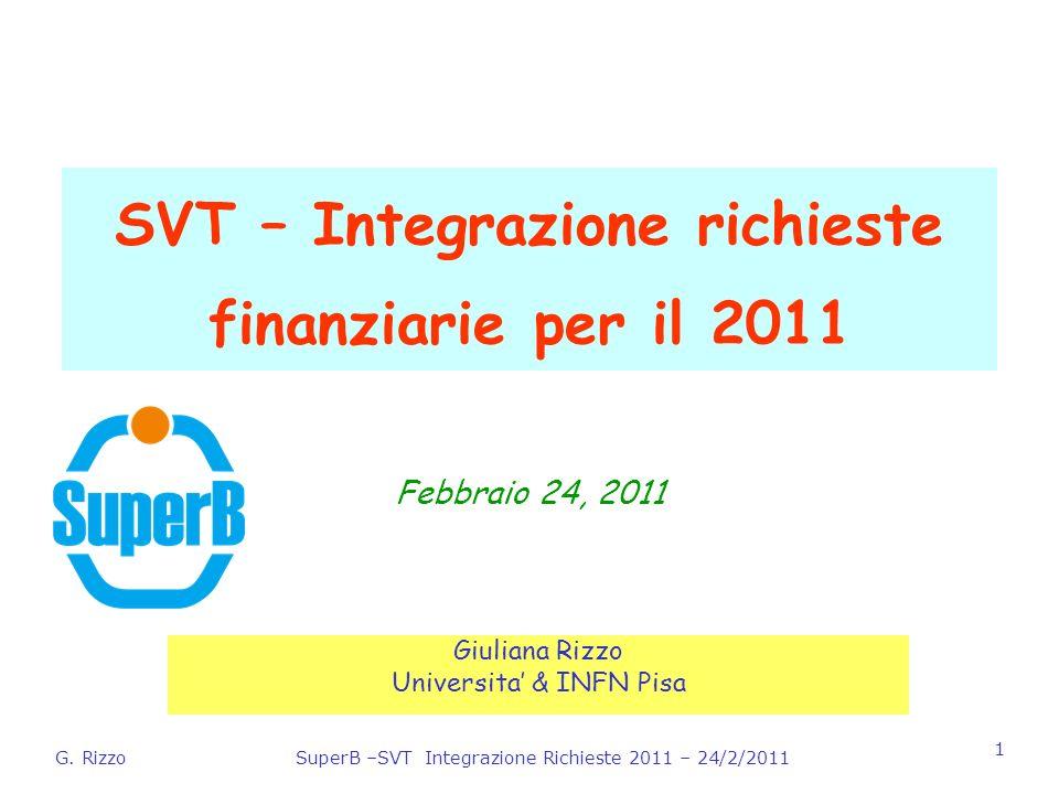 G. RizzoSuperB –SVT Integrazione Richieste 2011 – 24/2/2011 1 SVT – Integrazione richieste finanziarie per il 2011 Giuliana Rizzo Universita & INFN Pi