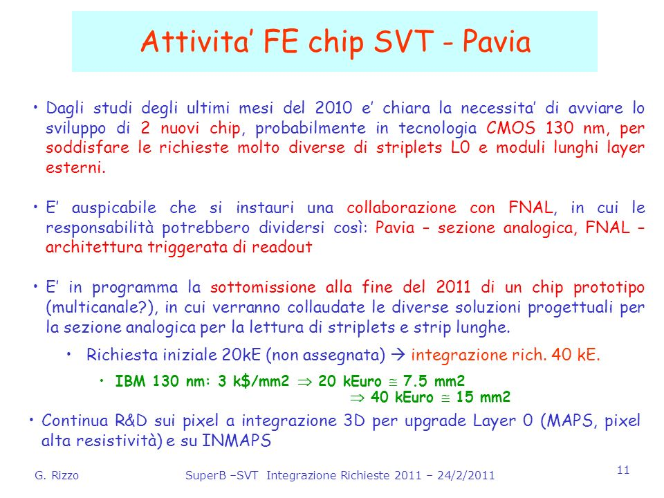 G. RizzoSuperB –SVT Integrazione Richieste 2011 – 24/2/2011 11 Attivita FE chip SVT - Pavia Dagli studi degli ultimi mesi del 2010 e chiara la necessi