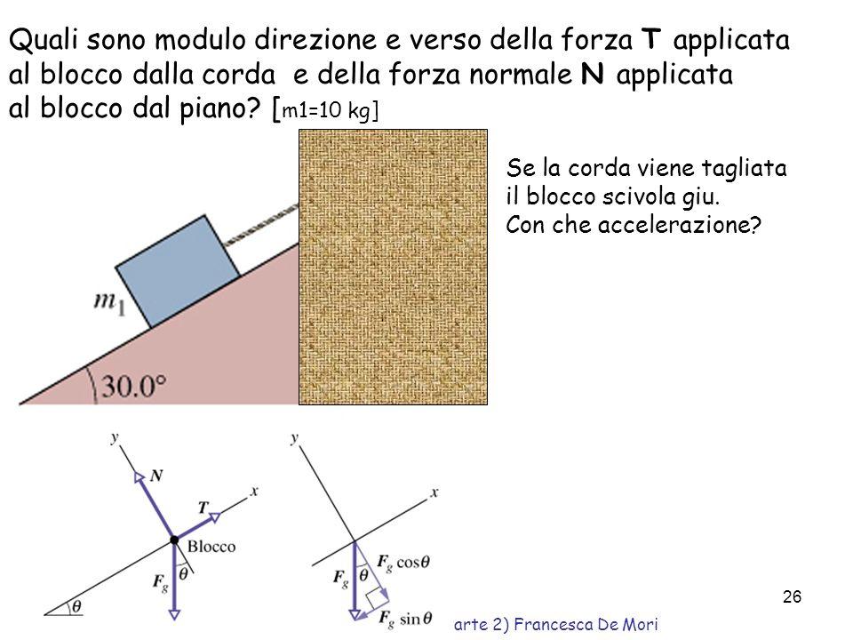 Corso propedeutico di Fisica (Parte 2) Francesca De Mori 25 Esercizio M m PMPM PmPm NT T Calcolare la tensione T e laccelerazione del blocco di massa