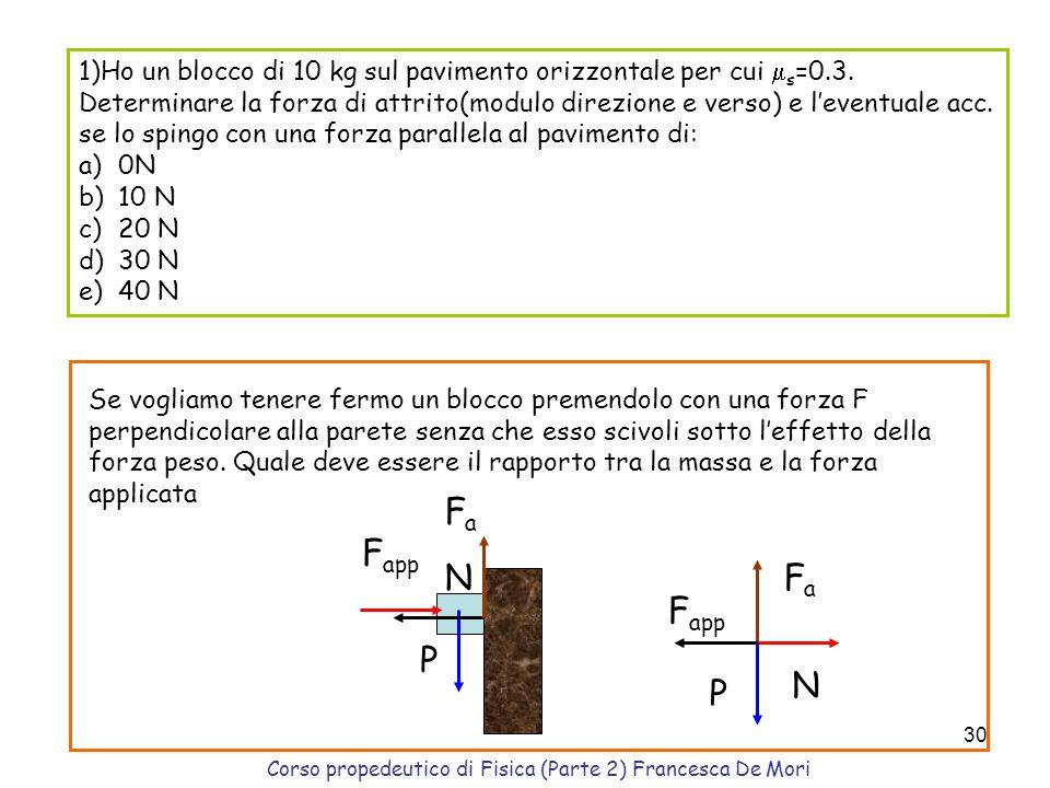 Corso propedeutico di Fisica (Parte 2) Francesca De Mori 29 Forza di Attrito Si oppone al moto N fdfd v N fdfd v s coefficiente attrito statico d coef