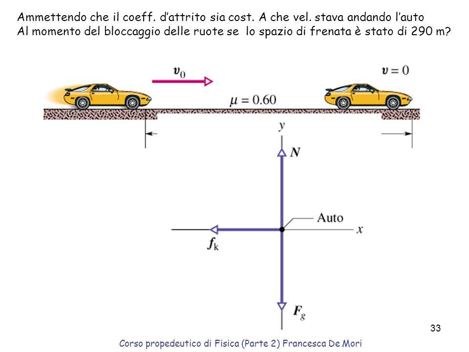 Corso propedeutico di Fisica (Parte 2) Francesca De Mori 32 La slitta(m=100 kg) viene tirata su una sup.orizzontale (coeff. dattrito din tra pattini e