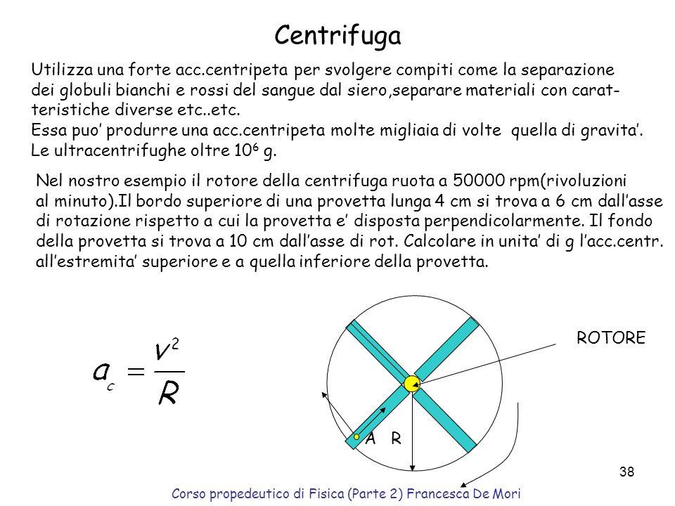 Corso propedeutico di Fisica (Parte 2) Francesca De Mori 37 Esempio :curva di una strada Una curva sopraelevata di raggio 190m è inclinata di un angol