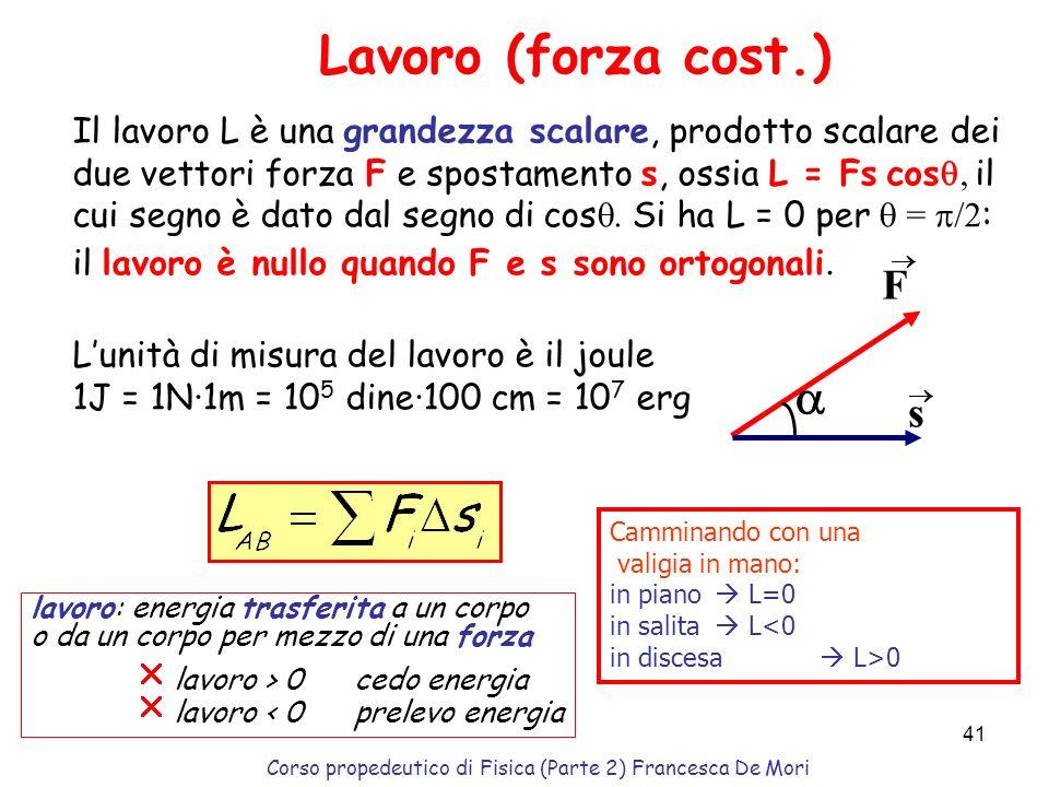 Corso propedeutico di Fisica (Parte 2) Francesca De Mori 40 Precorso 2: parte seconda Lavoro Energia Conservazione dellenergia totale Energia cinetica