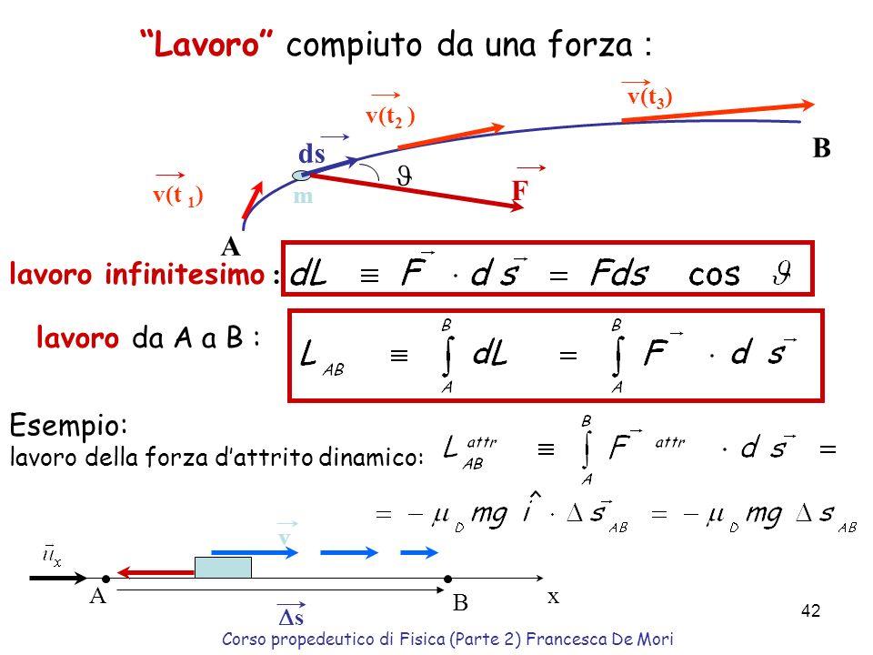 Corso propedeutico di Fisica (Parte 2) Francesca De Mori 41 Il lavoro L è una grandezza scalare, prodotto scalare dei due vettori forza F e spostament