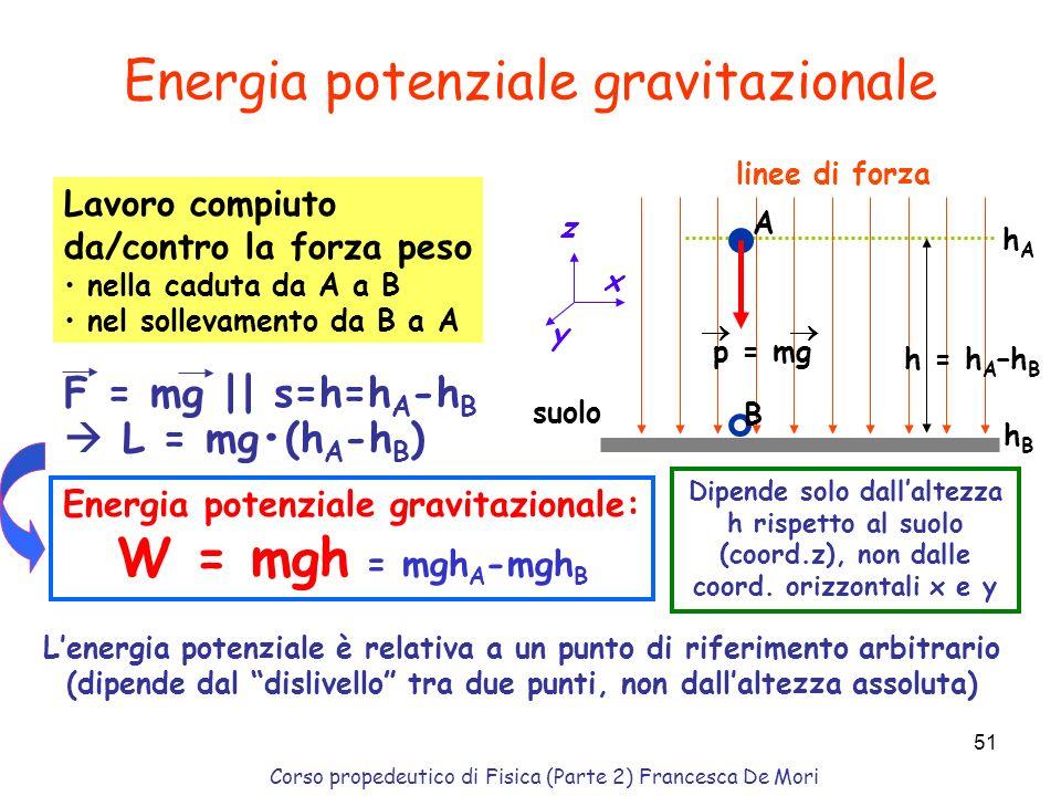 Corso propedeutico di Fisica (Parte 2) Francesca De Mori 50 Nella pratica, sono però anche presenti sempre forze non conservative (per es. attrito, la