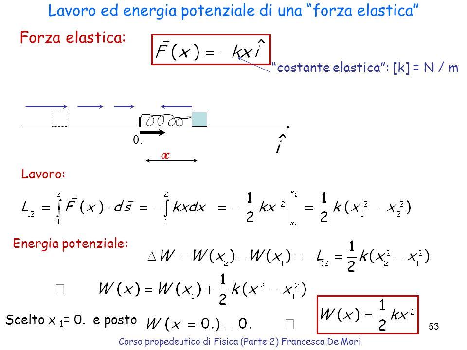 Corso propedeutico di Fisica (Parte 2) Francesca De Mori 52 Trascurando gli attriti, lenergia totale (meccanica) è costante: E tot = T in + W in = T f