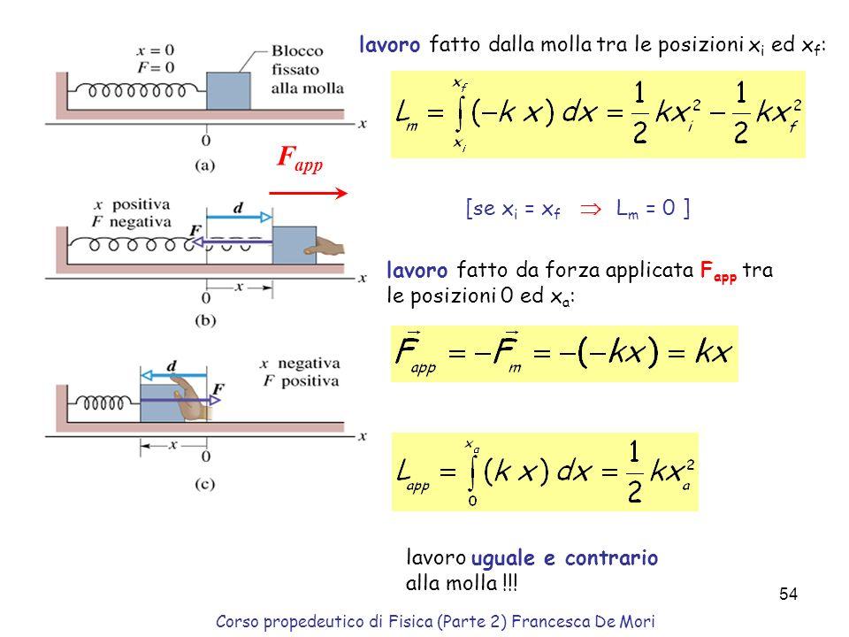 Corso propedeutico di Fisica (Parte 2) Francesca De Mori 53 costante elastica: [k] = N / m Lavoro: Energia potenziale: Scelto x 1 = 0. e posto x 0. La