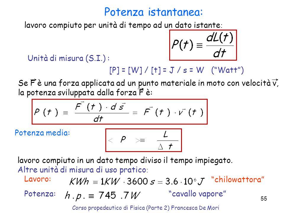 Corso propedeutico di Fisica (Parte 2) Francesca De Mori 54 F app lavoro fatto dalla molla tra le posizioni x i ed x f : [se x i = x f L m = 0 ] lavor