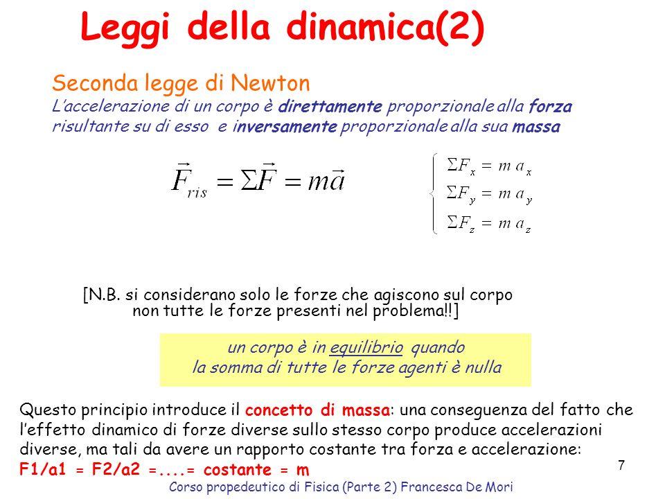 Corso propedeutico di Fisica (Parte 2) Francesca De Mori 6 Sistemi di riferimento inerziali La prima legge di Newton non vale in tutti i sistemi di ri