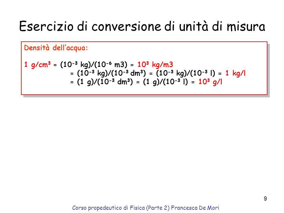 Corso propedeutico di Fisica (Parte 2) Francesca De Mori 8 Vale il principio di sovrapposizione delle forze (proprieta` additiva); F i = m a i massa p
