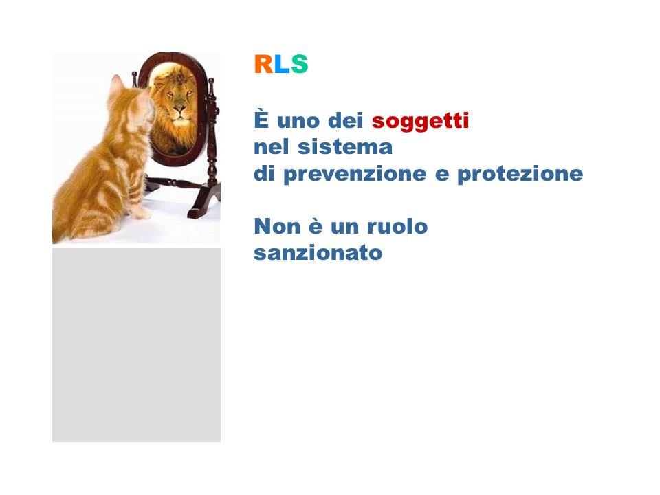 RLSRLS È uno dei soggetti nel sistema di prevenzione e protezione Non è un ruolo sanzionato RLS – Soggetto sistema prevenzione