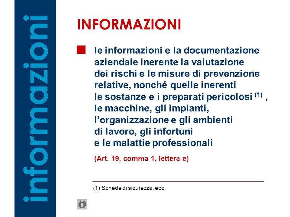 le informazioni e la documentazione aziendale inerente la valutazione dei rischi e le misure di prevenzione relative, nonché quelle inerenti le sostan