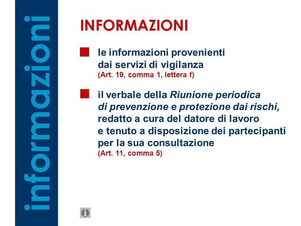 le informazioni provenienti dai servizi di vigilanza (Art. 19, comma 1, lettera f) il verbale della Riunione periodica di prevenzione e protezione dai