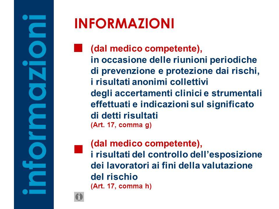 (dal medico competente), in occasione delle riunioni periodiche di prevenzione e protezione dai rischi, i risultati anonimi collettivi degli accertame