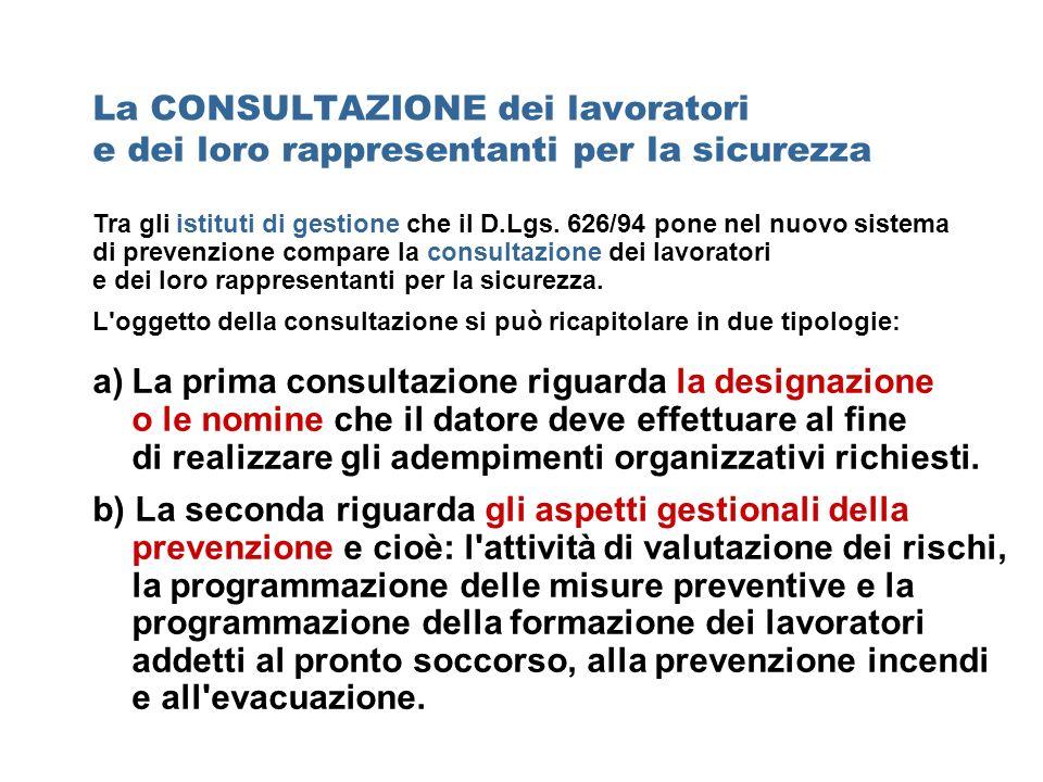 Tra gli istituti di gestione che il D.Lgs. 626/94 pone nel nuovo sistema di prevenzione compare la consultazione dei lavoratori e dei loro rappresenta