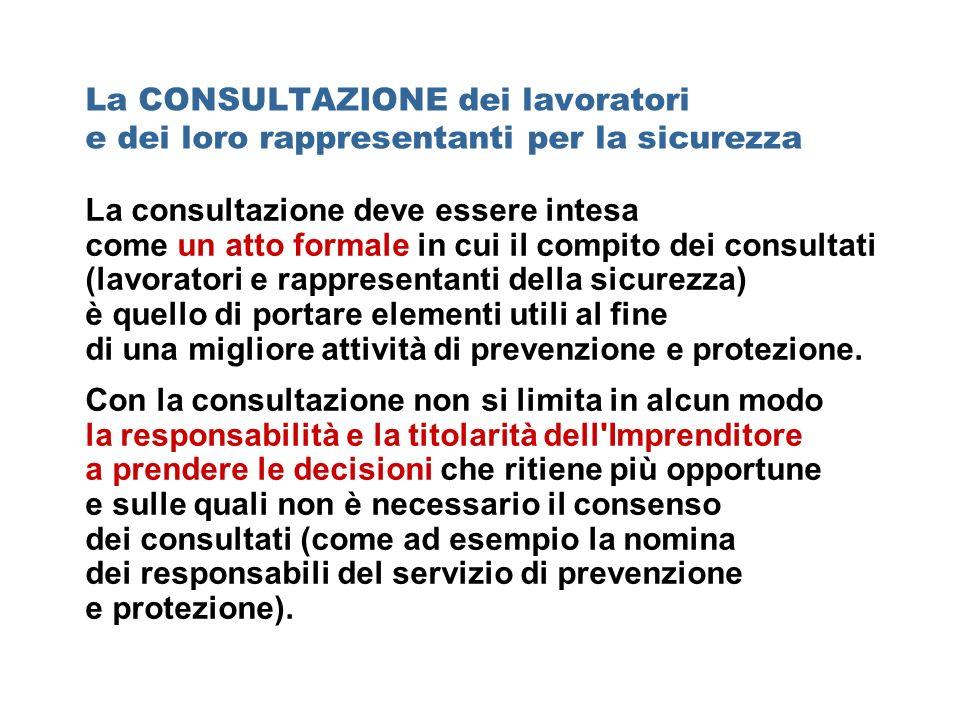 La consultazione deve essere intesa come un atto formale in cui il compito dei consultati (lavoratori e rappresentanti della sicurezza) è quello di po