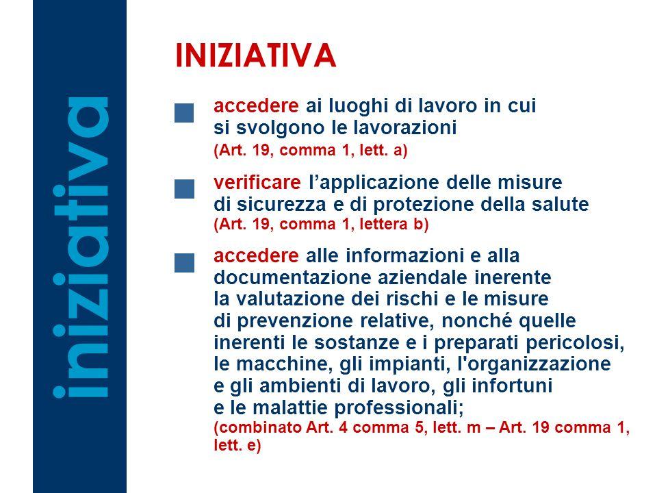 iniziativa INIZIATIVA accedere ai luoghi di lavoro in cui si svolgono le lavorazioni (Art. 19, comma 1, lett. a) verificare lapplicazione delle misure