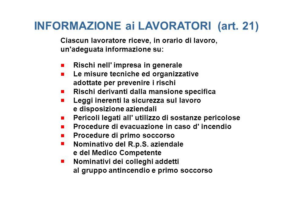 Ciascun lavoratore riceve, in orario di lavoro, un'adeguata informazione su: INFORMAZIONE ai LAVORATORI (art. 21) Rischi nell' impresa in generale Le