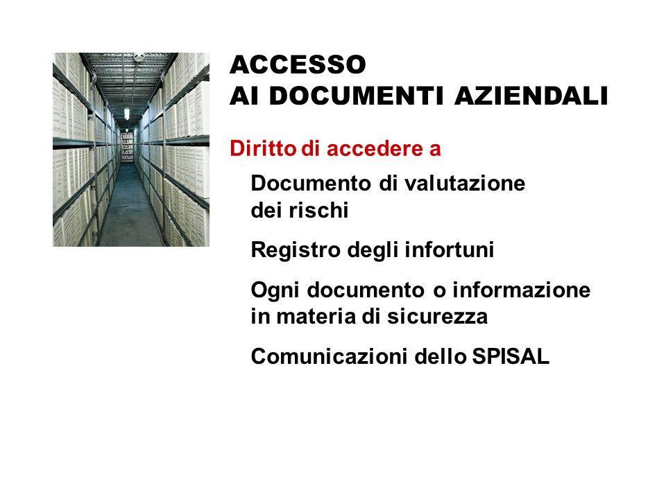ACCESSO AI DOCUMENTI AZIENDALI Diritto di accedere a Accesso ai documenti aziendali Documento di valutazione dei rischi Registro degli infortuni Ogni