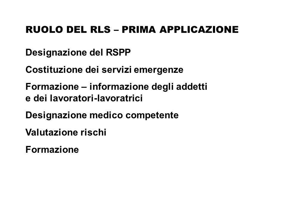 Designazione del RSPP Costituzione dei servizi emergenze Formazione – informazione degli addetti e dei lavoratori-lavoratrici Designazione medico comp