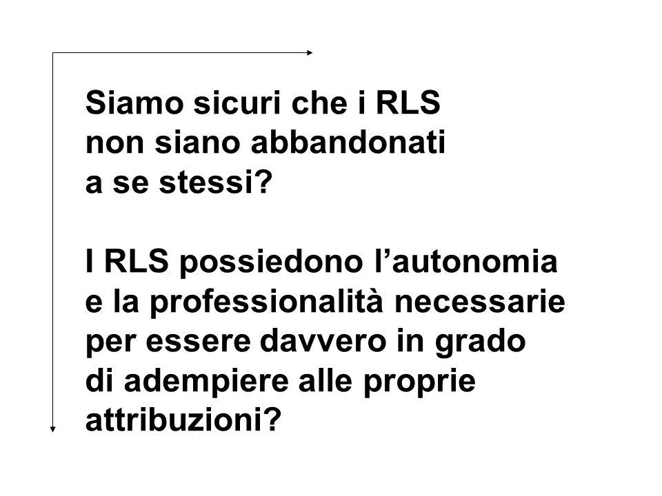 Siamo sicuri che i RLS non siano abbandonati a se stessi? I RLS possiedono lautonomia e la professionalità necessarie per essere davvero in grado di a