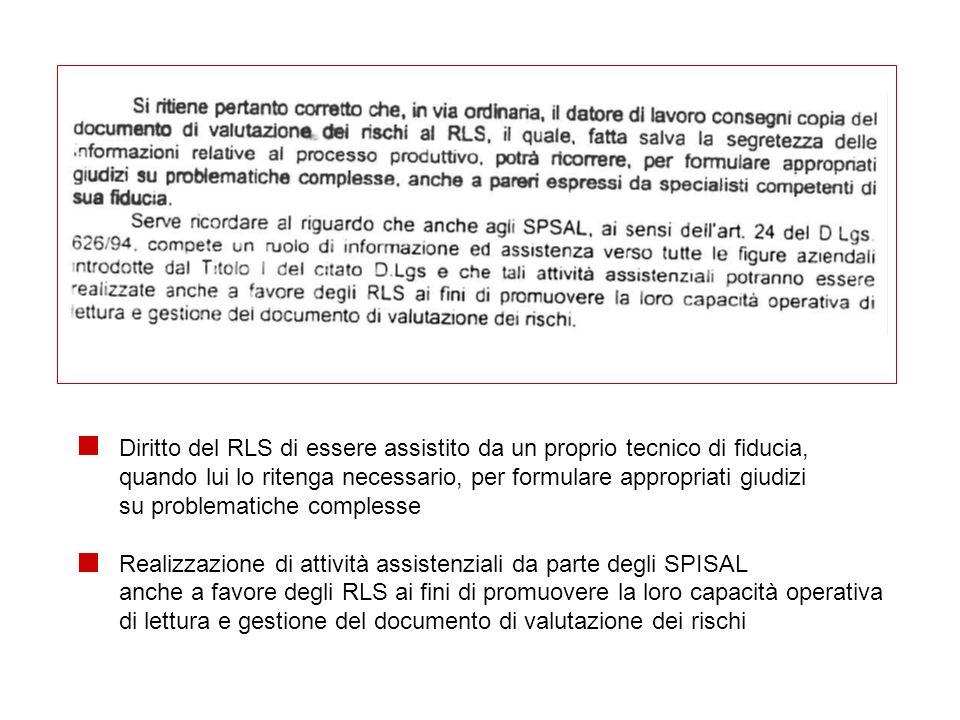 Diritto del RLS di essere assistito da un proprio tecnico di fiducia, quando lui lo ritenga necessario, per formulare appropriati giudizi su problemat