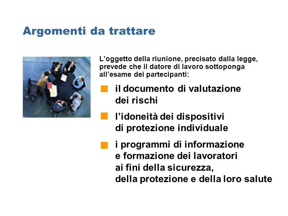 Argomenti da trattare Loggetto della riunione, precisato dalla legge, prevede che il datore di lavoro sottoponga allesame dei partecipanti: il documen