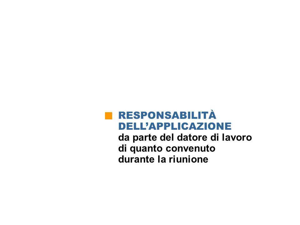 RESPONSABILITÀ DELLAPPLICAZIONE da parte del datore di lavoro di quanto convenuto durante la riunione Responsabilità nellapplicazione di quanto conven
