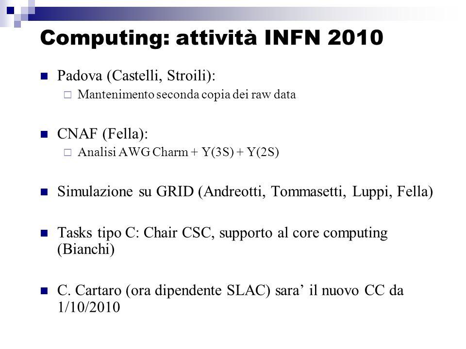Computing: attività INFN 2010 Padova (Castelli, Stroili): Mantenimento seconda copia dei raw data CNAF (Fella): Analisi AWG Charm + Y(3S) + Y(2S) Simulazione su GRID (Andreotti, Tommasetti, Luppi, Fella) Tasks tipo C: Chair CSC, supporto al core computing (Bianchi) C.
