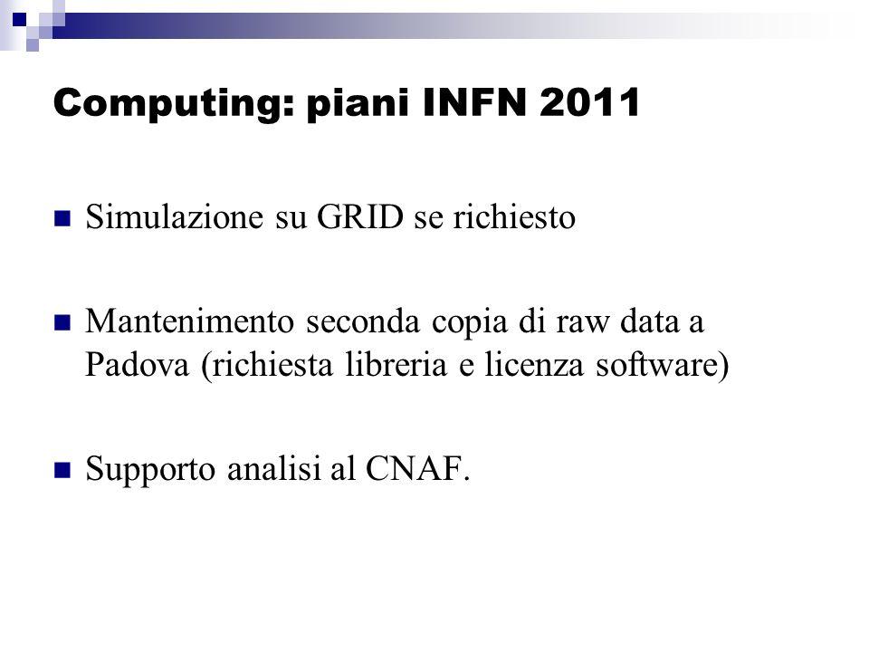 Computing: piani INFN 2011 Simulazione su GRID se richiesto Mantenimento seconda copia di raw data a Padova (richiesta libreria e licenza software) Supporto analisi al CNAF.