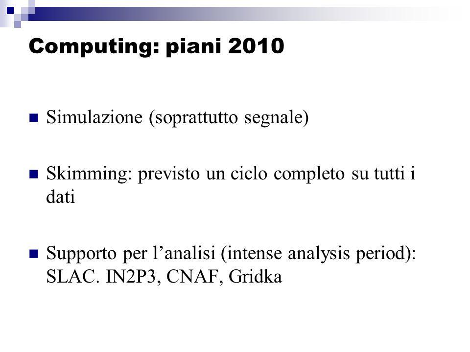 Computing: piani 2010 Simulazione (soprattutto segnale) Skimming: previsto un ciclo completo su tutti i dati Supporto per lanalisi (intense analysis period): SLAC.