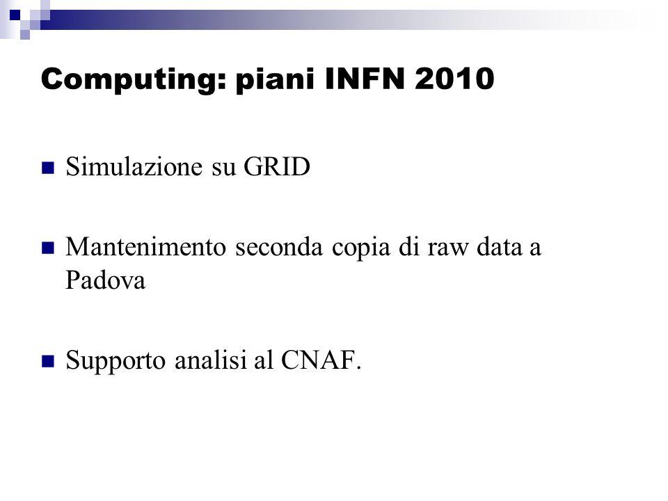 Computing: piani INFN 2010 Simulazione su GRID Mantenimento seconda copia di raw data a Padova Supporto analisi al CNAF.
