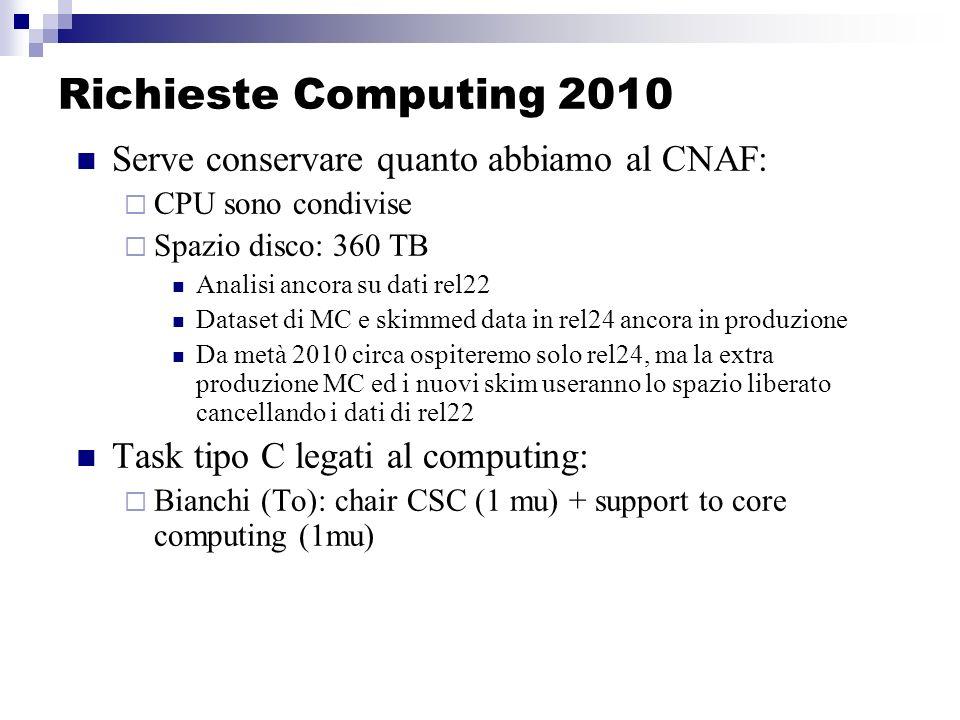 Richieste Computing 2010 Serve conservare quanto abbiamo al CNAF: CPU sono condivise Spazio disco: 360 TB Analisi ancora su dati rel22 Dataset di MC e skimmed data in rel24 ancora in produzione Da metà 2010 circa ospiteremo solo rel24, ma la extra produzione MC ed i nuovi skim useranno lo spazio liberato cancellando i dati di rel22 Task tipo C legati al computing: Bianchi (To): chair CSC (1 mu) + support to core computing (1mu)