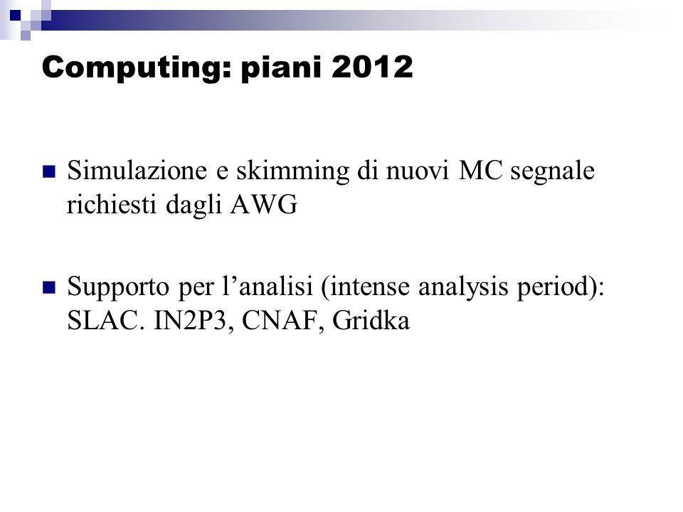 Computing: piani 2012 Simulazione e skimming di nuovi MC segnale richiesti dagli AWG Supporto per lanalisi (intense analysis period): SLAC.