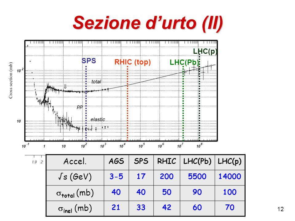 12 Sezione durto (II) SPS RHIC (top) LHC(Pb) LHC(p) Accel. AGSSPSRHICLHC(Pb)LHC(p) s (GeV) 3-517200550014000 total (mb) 40 5090100 inel (mb) 213342607