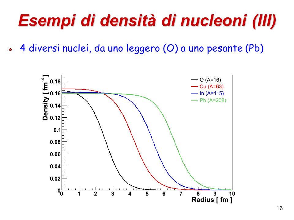 16 Esempi di densità di nucleoni (III) 4 diversi nuclei, da uno leggero (O) a uno pesante (Pb)
