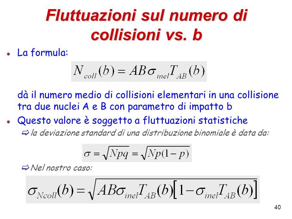 40 Fluttuazioni sul numero di collisioni vs. b La formula: dà il numero medio di collisioni elementari in una collisione tra due nuclei A e B con para