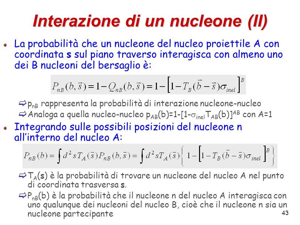 43 Interazione di un nucleone (II) La probabilità che un nucleone del nucleo proiettile A con coordinata s sul piano traverso interagisca con almeno u