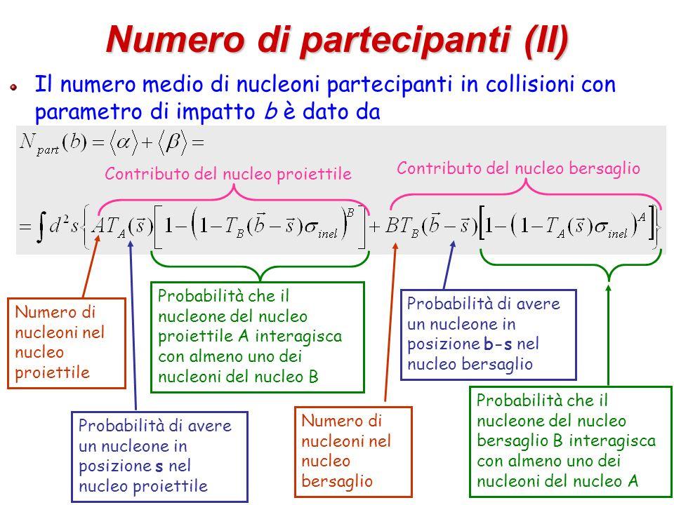 45 Numero di partecipanti (II) Il numero medio di nucleoni partecipanti in collisioni con parametro di impatto b è dato da Numero di nucleoni nel nucl