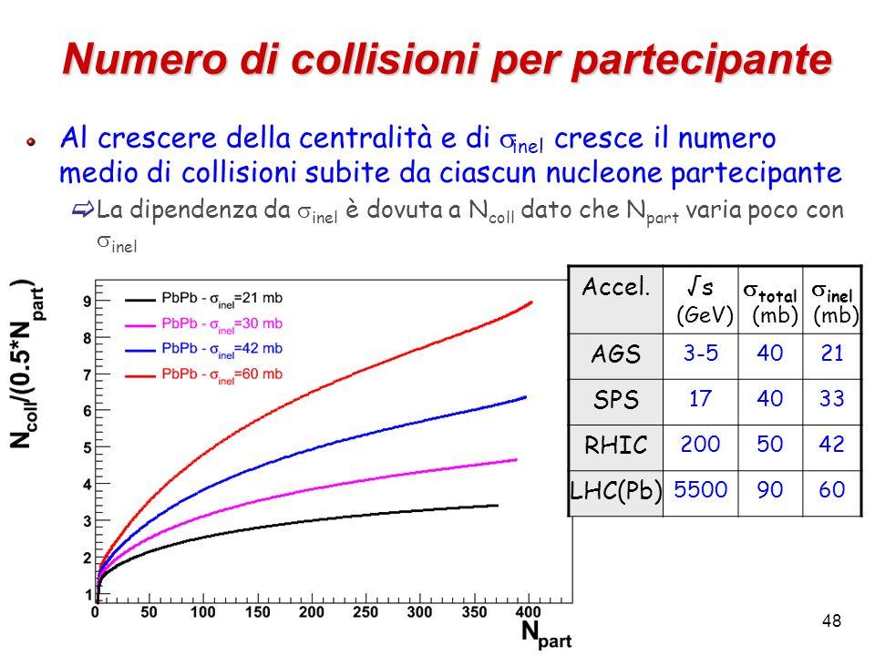 48 Numero di collisioni per partecipante Al crescere della centralità e di inel cresce il numero medio di collisioni subite da ciascun nucleone partec