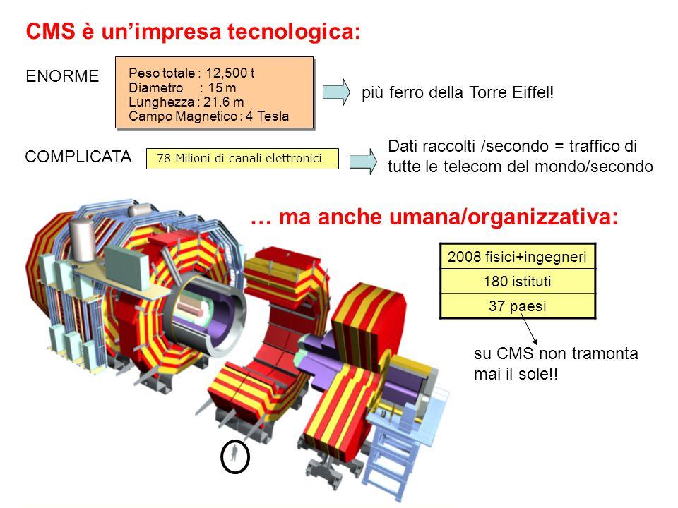 2008 fisici+ingegneri 180 istituti 37 paesi 78 Milioni di canali elettronici Peso totale : 12,500 t Diametro : 15 m Lunghezza : 21.6 m Campo Magnetico