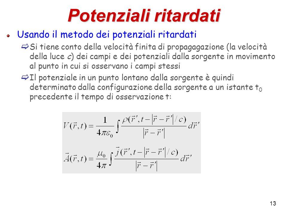 13 Potenziali ritardati Usando il metodo dei potenziali ritardati Si tiene conto della velocità finita di propagagazione (la velocità della luce c) de