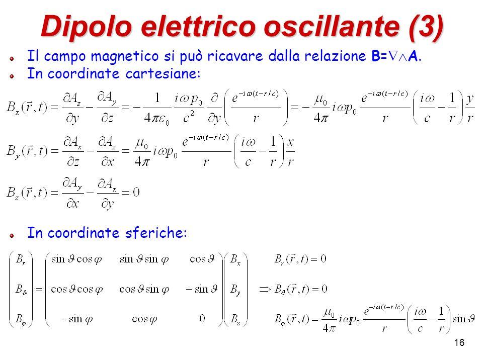 Dipolo elettrico oscillante (3) Il campo magnetico si può ricavare dalla relazione B= A. In coordinate cartesiane: In coordinate sferiche: 16