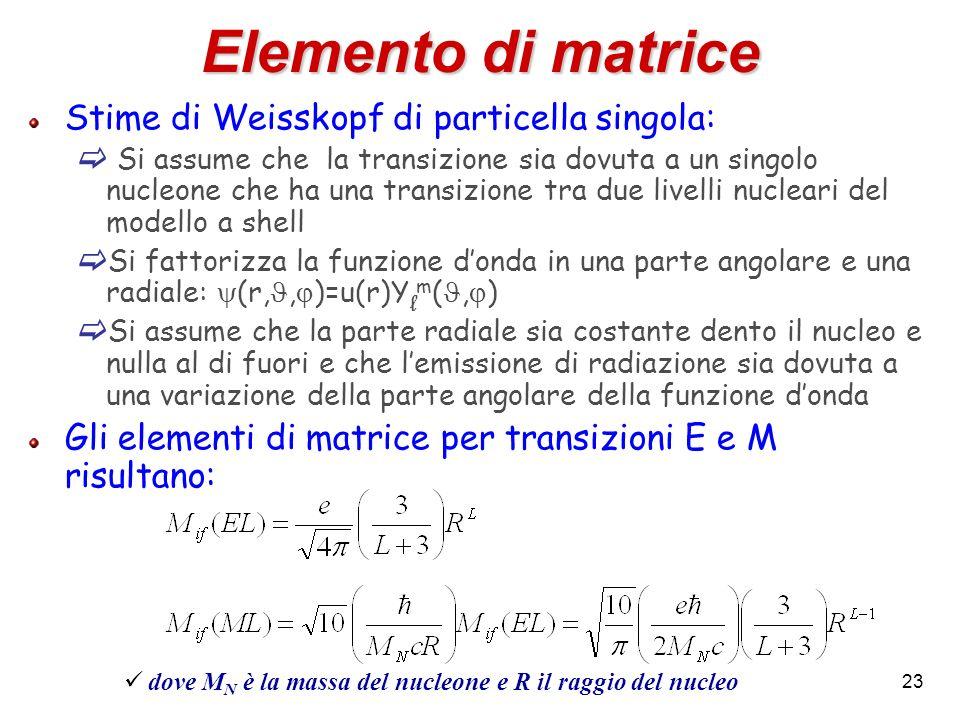 Elemento di matrice Stime di Weisskopf di particella singola: Si assume che la transizione sia dovuta a un singolo nucleone che ha una transizione tra due livelli nucleari del modello a shell Si fattorizza la funzione donda in una parte angolare e una radiale: (r,, )=u(r)Y l m (, ) Si assume che la parte radiale sia costante dento il nucleo e nulla al di fuori e che lemissione di radiazione sia dovuta a una variazione della parte angolare della funzione donda Gli elementi di matrice per transizioni E e M risultano: dove M N è la massa del nucleone e R il raggio del nucleo 23