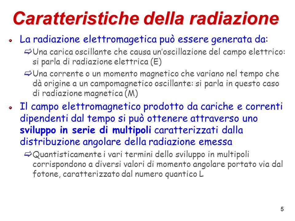 5 Caratteristiche della radiazione La radiazione elettromagetica può essere generata da: Una carica oscillante che causa unoscillazione del campo elettrico: si parla di radiazione elettrica (E) Una corrente o un momento magnetico che variano nel tempo che dà origine a un campomagnetico oscillante: si parla in questo caso di radiazione magnetica (M) Il campo elettromagnetico prodotto da cariche e correnti dipendenti dal tempo si può ottenere attraverso uno sviluppo in serie di multipoli caratterizzati dalla distribuzione angolare della radiazione emessa Quantisticamente i vari termini dello sviluppo in multipoli corrispondono a diversi valori di momento angolare portato via dal fotone, caratterizzato dal numero quantico L