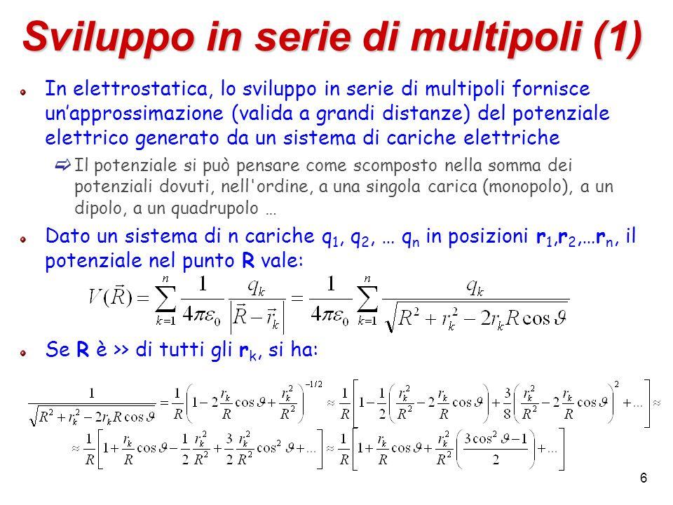 6 Sviluppo in serie di multipoli (1) In elettrostatica, lo sviluppo in serie di multipoli fornisce unapprossimazione (valida a grandi distanze) del potenziale elettrico generato da un sistema di cariche elettriche Il potenziale si può pensare come scomposto nella somma dei potenziali dovuti, nell ordine, a una singola carica (monopolo), a un dipolo, a un quadrupolo … Dato un sistema di n cariche q 1, q 2, … q n in posizioni r 1,r 2,…r n, il potenziale nel punto R vale: Se R è >> di tutti gli r k, si ha: