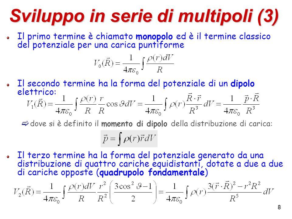 8 Sviluppo in serie di multipoli (3) Il primo termine è chiamato monopolo ed è il termine classico del potenziale per una carica puntiforme Il secondo termine ha la forma del potenziale di un dipolo elettrico: dove si è definito il momento di dipolo della distribuzione di carica: Il terzo termine ha la forma del potenziale generato da una distribuzione di quattro cariche equidistanti, dotate a due a due di cariche opposte (quadrupolo fondamentale)