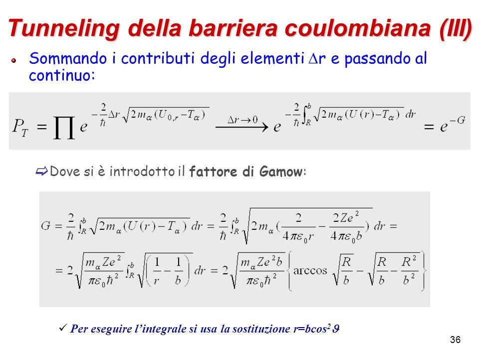 36 Tunneling della barriera coulombiana (III) Sommando i contributi degli elementi r e passando al continuo: Dove si è introdotto il fattore di Gamow:
