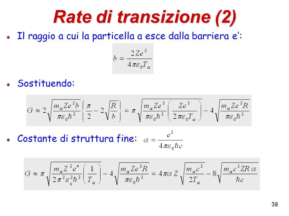 38 Rate di transizione (2) Il raggio a cui la particella a esce dalla barriera e: Sostituendo: Costante di struttura fine: