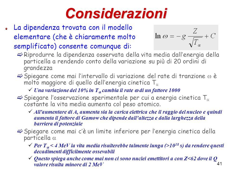 41 Considerazioni La dipendenza trovata con il modello elementare (che è chiaramente molto semplificato) consente comunque di: Riprodurre la dipendenz